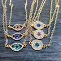 2015 New Rhinestone gold blue turkey  Evil Eye Pendants Necklaces for women  wholesale evil eye necklace pendant