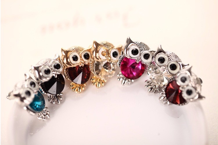 New Design Crystal Women Charms Owl Stud Earrings Five Colors Fashion Jewelry White Gold Plated Cute Trendy For Wedding HFNE0