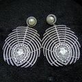 Chegada nova moda AAA Cubic Zirconia Big pena com pérolas para mulheres partido jóias