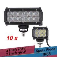10PCS 4 Inch 18W 7 Inch 36W LED Work Light Spot Flood Offroad Light Bar 12v