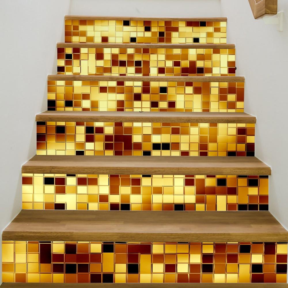 JERMYN Golden Bricks Stairs Stickers Imitation 3D Living Room Self ...