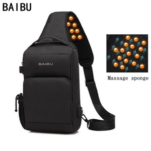 Мужская сумка-антивор через плечо от BAIBU с функцией подзарядки через USB, массажная нагрудная сумка для поездок, сумка-мессенджер, водонепрон...
