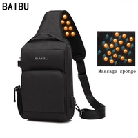 BAIBU Men USB Charging Crossbody Bags Antitheft massage Chest Pack Short Trip Messengers Bag Waterproof Mobile ipad Shoulder Bag