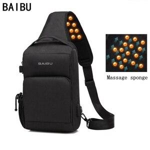 Image 1 - BAIBU sac à bandoulière imperméable pour hommes, sac chargeur USB de massage anti vol, sac messager de poitrine court voyage pour ipad Mobile