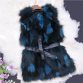 New Free Shipping Real Genuine Natural Fox Fur Vest Female Women Fur Coat Vest In the long section Low big size A#7