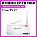 2016 PowerTV X6 Caja del IPTV Árabe sin Ninguna cuota anual de suscripción, 500 canales de TV en vivo Android TV player, el Envío Gratuito!