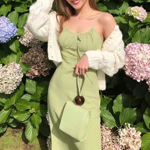 Vogue of new fund 2019 summer dress sexy small broken flower tied rope neck condole elegant ladies vestidos
