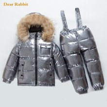 Girls Snow-Wear Real-Fur-Jackets Kids Winter Children Coat Clothing-Sets Boys Parka Down