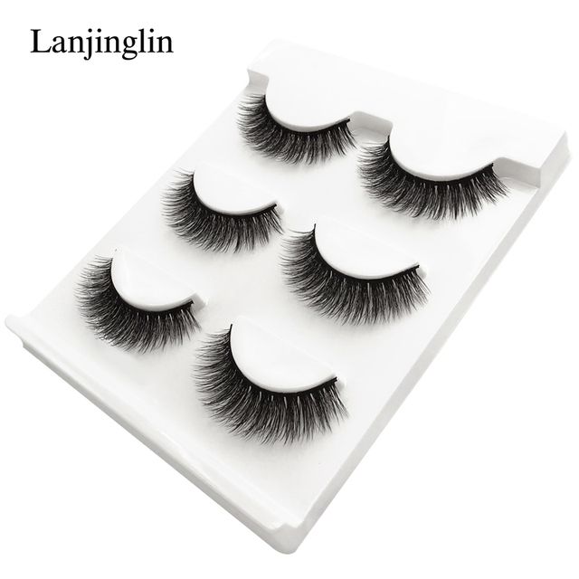 new 3 pairs mink eyelashes natural false eyelashes 3D mink lashes makeup soft fake eyelash extension hand made eye lashes #X09 2