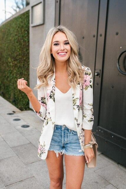 01cc9a9c87 Mujer otoño Floral Blazer Vintage Plus Size Casual Slim Flower Print Coat  blanco invierno Blazer Mujer