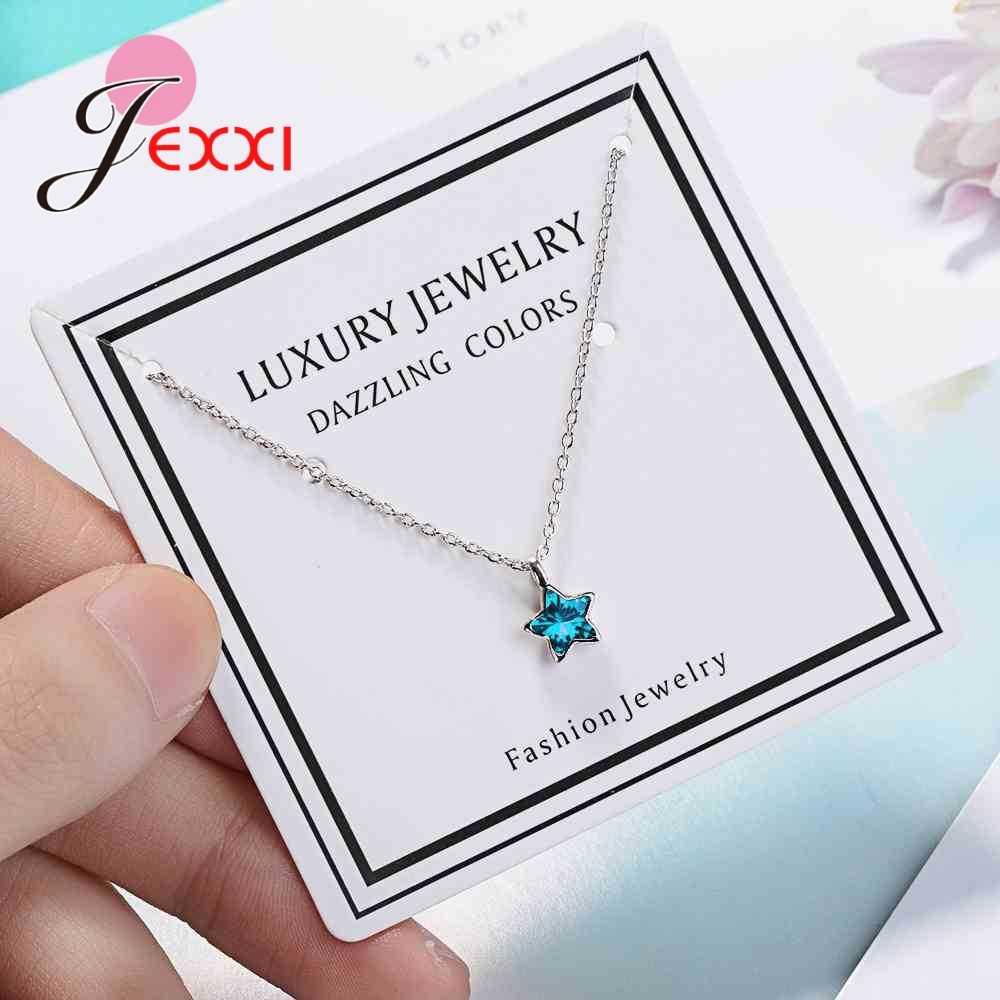 Haute qualité clair Bule cubique Zircon belle étoile forme femmes filles 925 en argent Sterling pendentif collier femmes bijoux cadeau