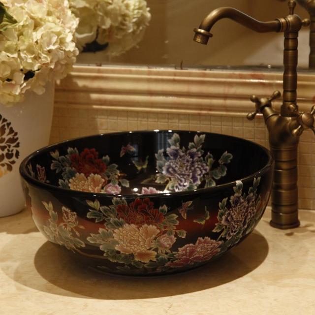 China Painting Peony Ceramic Art Basin Sinks Counter Top Wash