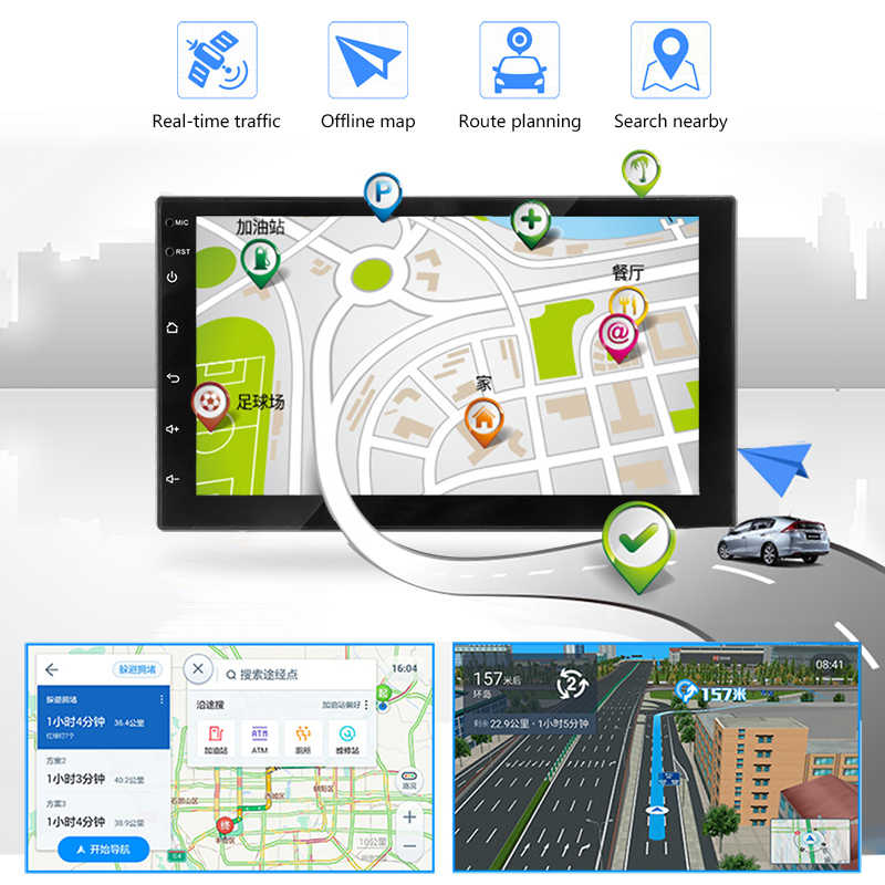 2 Din カーラジオ 7 インチタッチ Mirrorlink Android プレーヤーサブウーファー Autoradio Bluetooth リアビューカメラテープレコーダー Carplay