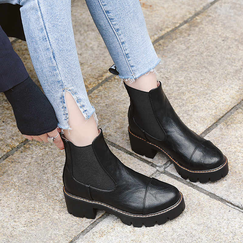 56138f85f996 ... YMECHIC Gothic Chelsea Slip on Ankle Boot Platform Chunky High Heels  Ladies Shoes Retro Red Black ...
