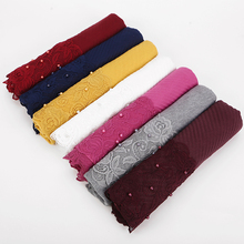 new scarf France plain pleated shawl pearl edges hijab wrinkle muslim solid scarfs long muffler fashion scarves 14 colors