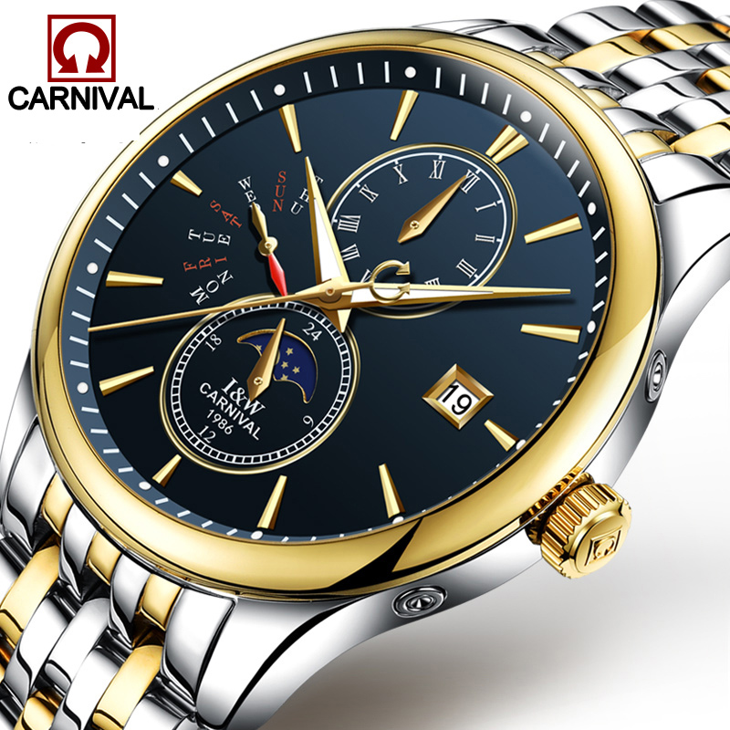 Carnival Business Automatic Watch Men Stainless Steel Mens Watches Top Brand Luxury Luminous Hands Moon Phase Clock kol saati tevise men black stainless steel automatic mechanical watch luminous analog mens skeleton watches top brand luxury 9008g