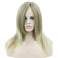 Soowee Synthetic Hair Long Straight Yellow to Blonde Ombre Hair Cosplay Wigs Women Party Hair Wig Hair Accessories Hairpieces