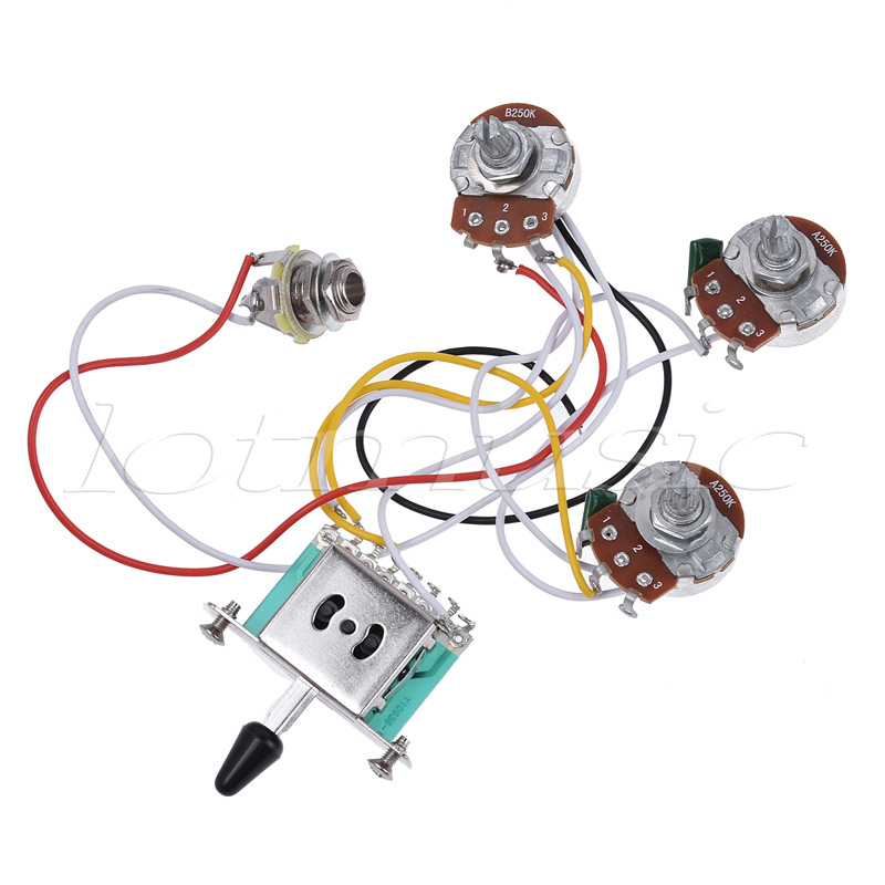 Electric Guitar Wiring Harness Prewired Kit 5 Way Toggle Switch 250K 2T1V Pots for Strat Parts крестик для кафельной плитки двухразмерный 1 5 3мм 100шт