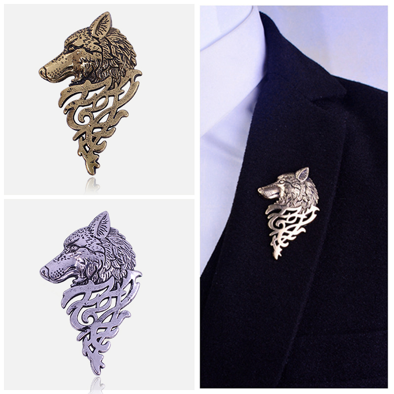 2019 Retro Wolf Brooch Vintage Punk Collar <font><b>Pins</b></font> Badge Brooches <font><b>Button</b></font> For Men Women Unisex Suit Clothing Personality Jewelry image