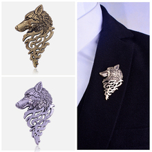 2019 Retro Wolf Brooch Vintage Punk Collar Pins Badge Brooches Button For Men Women Unisex Suit Clothing Personality Jewelry