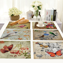 Cartoon Flower Bird Pattern Table Placemats Linen Placemat for Dining Rectangle Kitchen Accessories Decoration Home