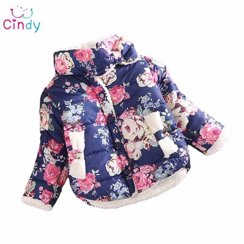 Promotions 2017 girls warm coat Winter long sleeve baby Outerwear Warm Down Flower Print Girls Coats