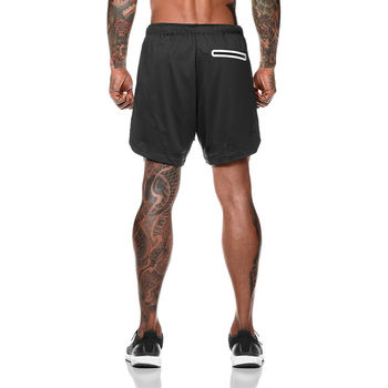 Joggers Shorts Mens 2 in 1 Short Pants Gyms Fitness   3