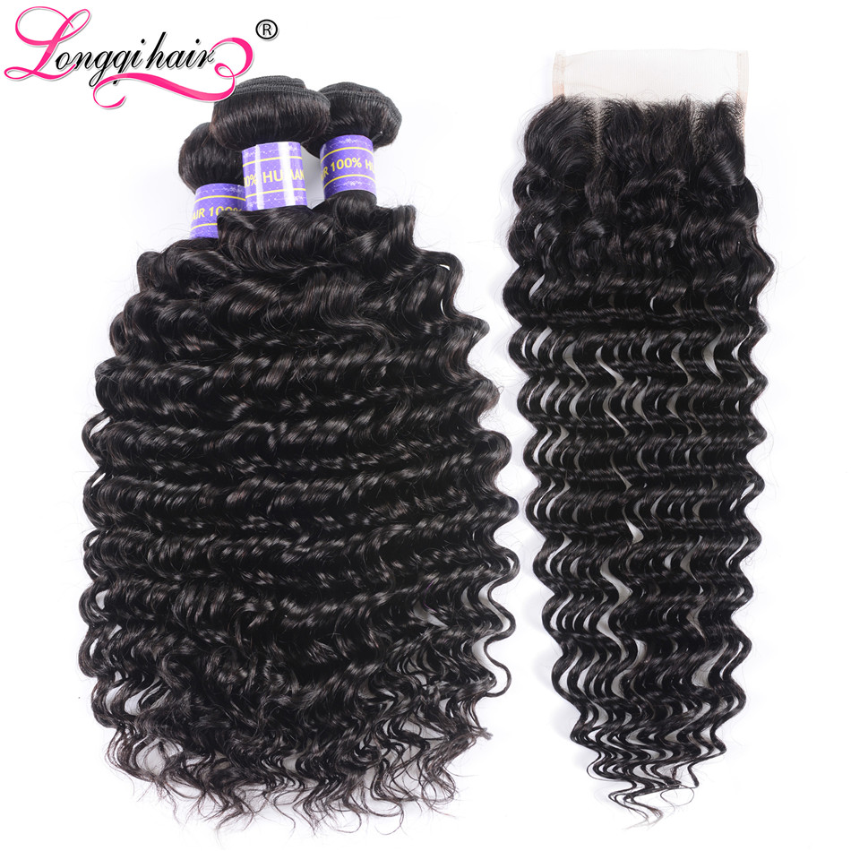 Longqi Hair Peruvian Deep Wave Bundles With Closure Natural Color Remy Human Hair Extensions with 4x4