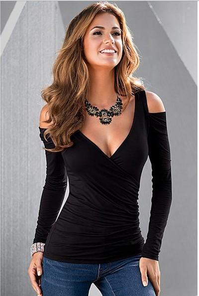 2017 Verão Estilo Moda sexy new black Strapless gola V cruz fold manga comprida T-shirt LC25726