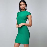 2018 Newest Fashon Green Bandage Dress Summer Chic Short Sleeve Sexy Bodycon O Neck Night Out