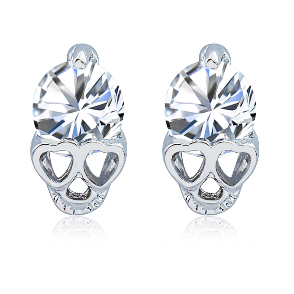 Women Fashion Accessories Gold Silver Color Rhinestone Heart Skeleton Skull Ear Studs Crystal Earrings For Ladies Men Earring