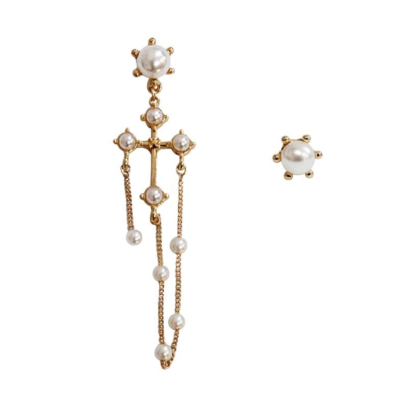 SANSUMMER 2019 New Fashionable Personality Alloy Plating Cross Pearl Asymmetrical Girl Long Golden Earrings 5248