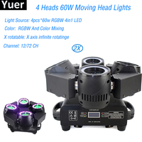 High Quality LED Moving Head Wash Light 4X60W RGBW Moving Heads DMX 12/72 Channels DJ Nightclub Party Concert Stage Lighting
