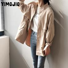 Trench coat Long Trench Spring coat women Casual Slim Trench coat for women Elegant Outside X-long Skirt coat Streetwear Sweet cheap YIMOJIO Full Broadcloth Polyester Button Spliced Solid MANDARIN COLLAR Single Breasted Wide-waisted