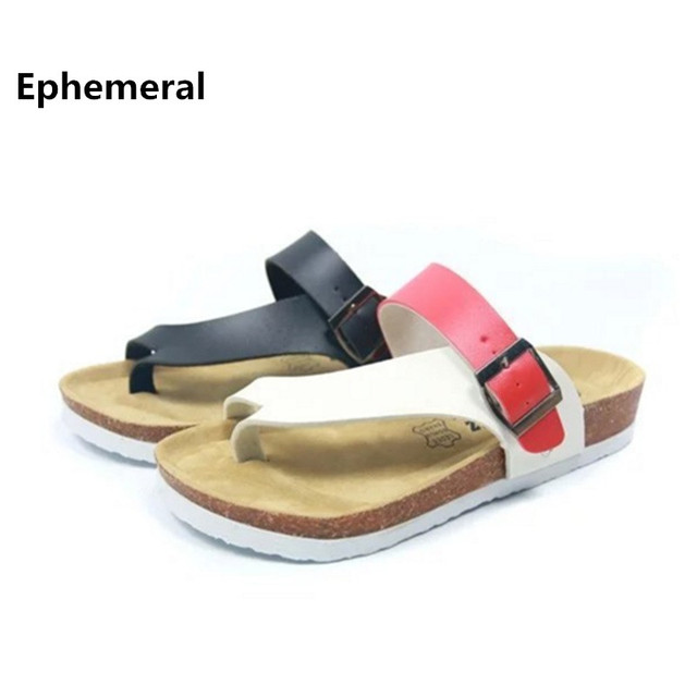 7bd7dd097350 Mixed colors summer beach slippers for ladies and men cork shoes buckle  strap slides max size 43 44 women thong flip flops 2017