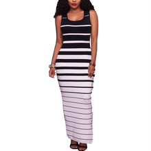 2016 Fashion Summer Dresses Sleeveless Striped Maxi Dress For Women With Belt