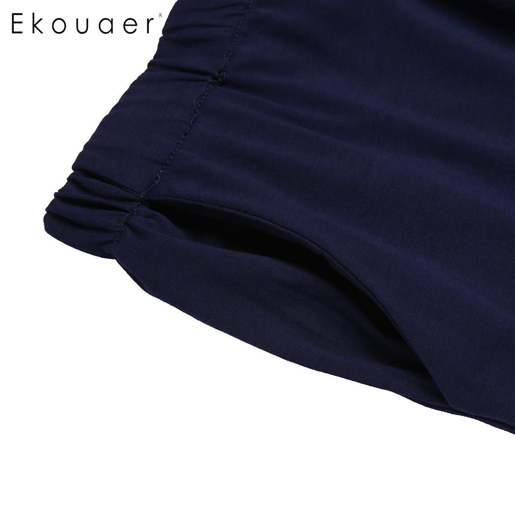 Ekouaer Plus Size Women Elastic Waist Short Pants Pajama Sleep Bottom Soft Loose Lounge Sleepwear Pants Female Nightwear XL-5XL 5