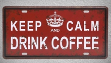 1 pc Keep calm drink coffee cappuccino shop espresso lattee Tin Plates Signs wall man cave Decoration Metal Art Vintage Poster