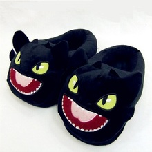 Toothless Train Your Dragon DreamWorks cotton slippers plush home warm Black NightFury