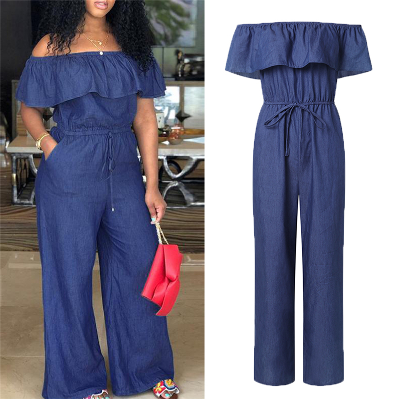 2020 New Fashion Women's Off Shoulder Long Romper Ruffle Solid Denim Jumpsuit Playsuit Loose Trouser Overall