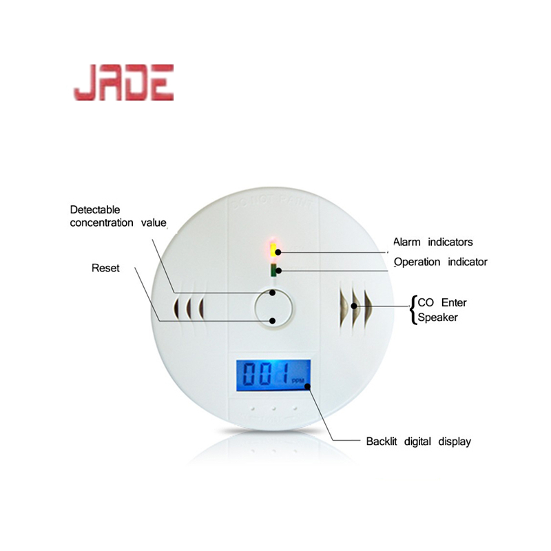 Home Security Warning High Sensitive LCD Photoelectric Independent CO Gas Sensor Carbon Monoxide Poisoning Alarm Detector
