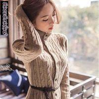 OHCLOTHING 2017 Południowokoreańskich kobiet nowy płaszcz zimowy skręt długi sweter sweter z dzianiny suknie zagęszczony w zimie
