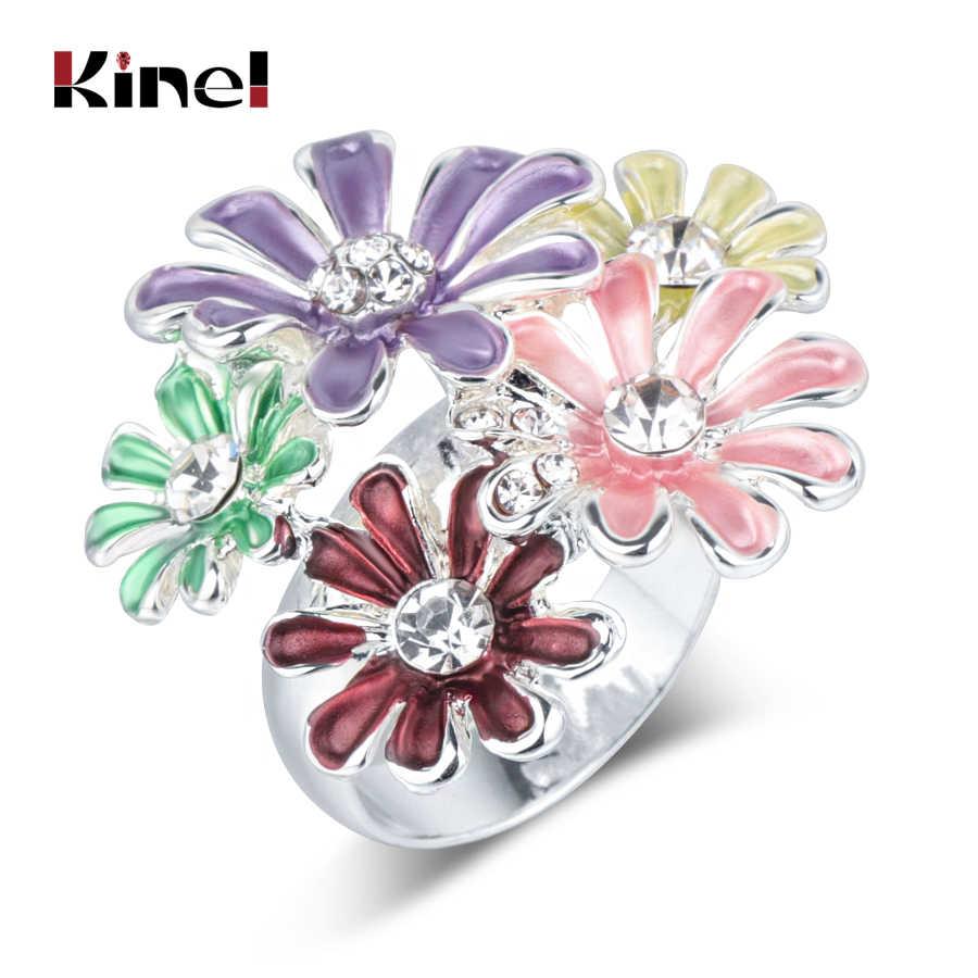 Kinel คริสตัลดอกไม้เคลือบแหวน Multi-layer กลีบเงินสี Vintage เครื่องประดับขายส่งของขวัญ