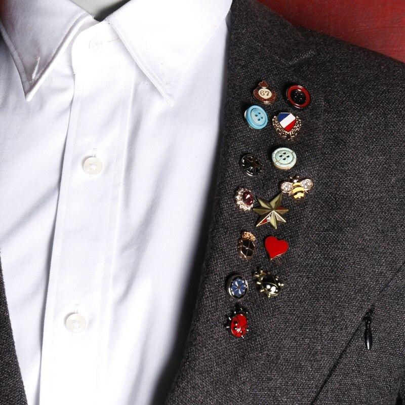 10 pieces/lot 2017 Button Brooch Black Paint Bird Enamel Brooches Men Women Suits Dress Hat Collar Brooch Pins Scarf Buckle Gift