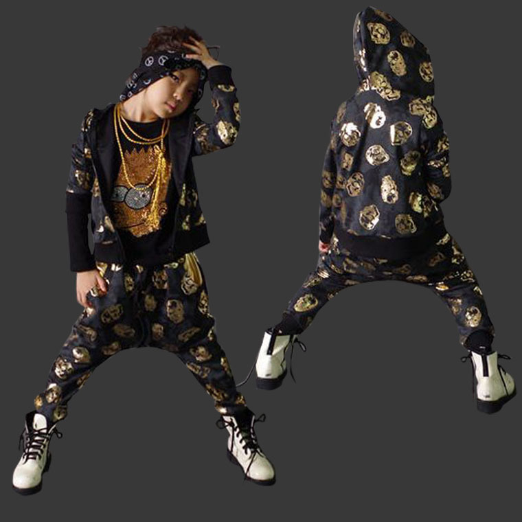 2015 New fashion Autumn children's clothing set Costumes gold skull sweatshirt dance Hip Hop harem pants kids sport suits wholesale new fashion autumn casual sport suits tracksuits for kids gold chain printing hip hop outwear boys clothing sets