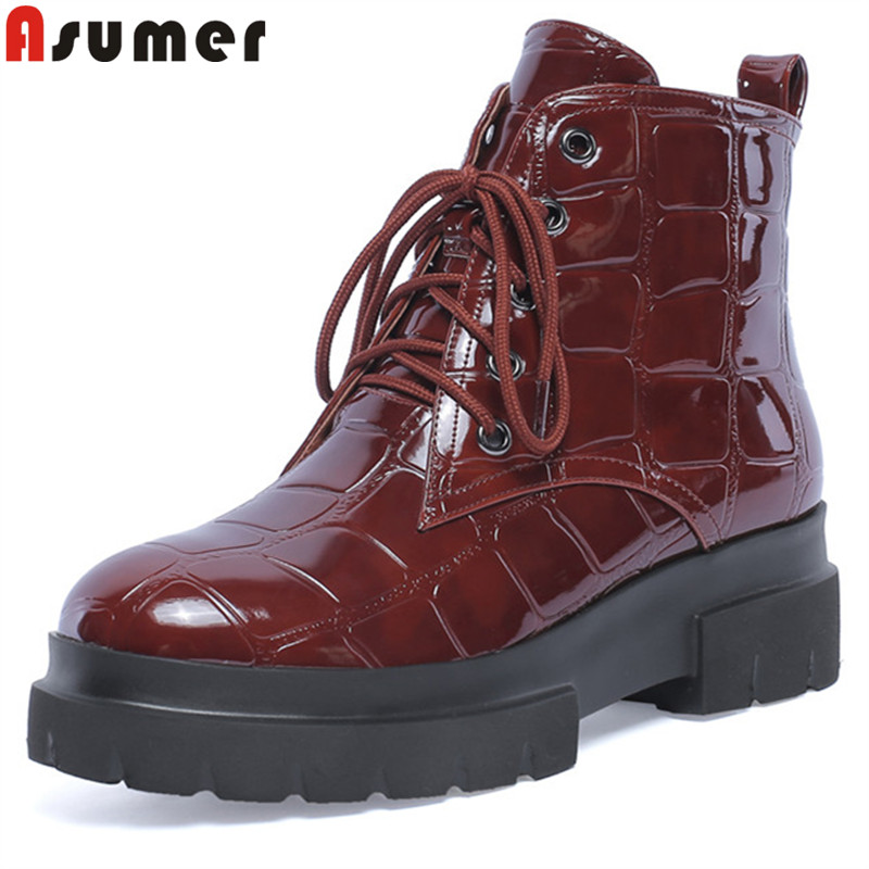 ASUMER 2018 fashion ankle boots for women round toe genuine leather boots zip platform classic Motorcycle boots ladies big size