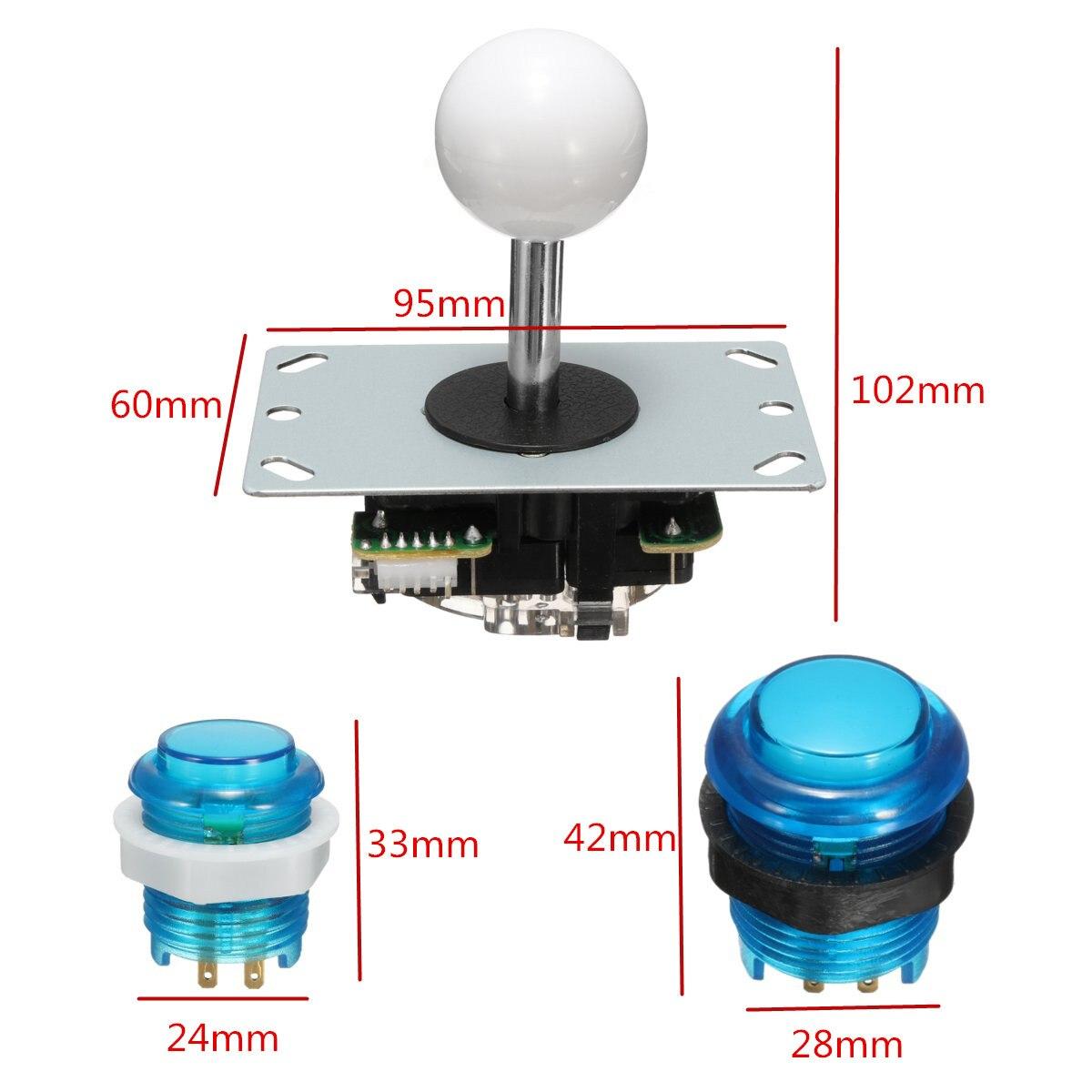 Cero retraso Joystick Arcade DIY Kit LED botón + Joystick + USB codificador + arnés de cable controlador USB para arcade Mame juego de Arcade - 6