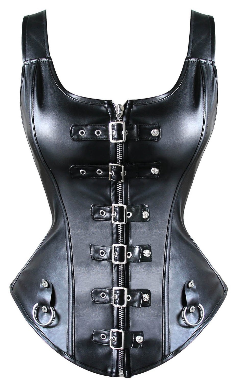Womens Front Buckled Leather Bustier Corset With Bondage Rings Sexy Fetish Mistress Playsuit Black