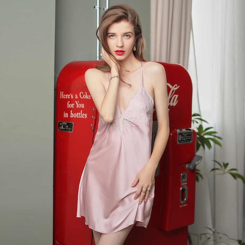 مثير موس فستان سهرة النساء قمصان النوم عارية الذراعين الساتان الدانتيل فستان سهرة زائد حجم الحرير مثير حبال تنورة مريحة جديد الأحمر