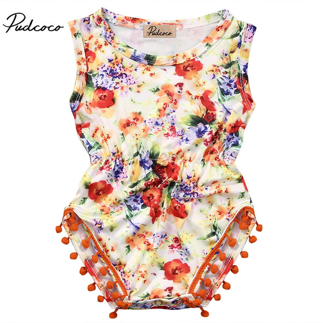 97a7f186a4cb 2017 Summer Princess Baby Girls Floral Romper Halter Lace Jumpsuit One  Pieces Pom Pom Tassel Outfits Sunsuit Clothes 0-24M